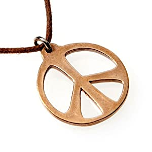 Medium Peace Symbol Peace Bronze Necklace on Adjustable Natural Fiber Cord