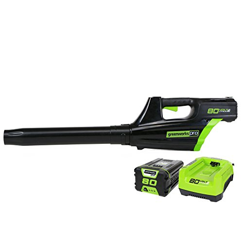 GreenWorks GBL80300 80V 500CFM Cordless Leaf Blower includes 2.0AH Battery and Charger