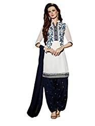 White colour embroidered georgette fabric semi stich patiyala salwar dress material
