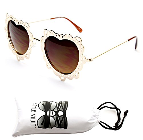 V174-vp Flower Lace Round Heart Metal Sunglasses with Pouch (Heart Gold-Brown)
