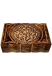 "New Age Smudges and Herbs Wood Box Tree Of Life 9"" L X 6"" W"