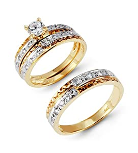 14k Tri Color Gold Round CZ Laser Cut Wedding Ring Set