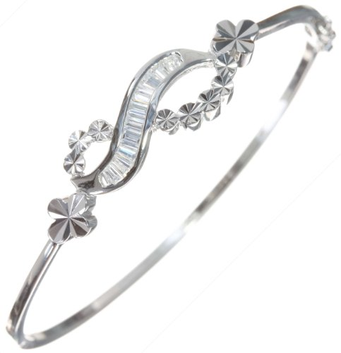 Modern 925 Sterling Silver Ladies Bangle with Cubic Zirconia/CZ - 6cm*2mm, 8 Grams