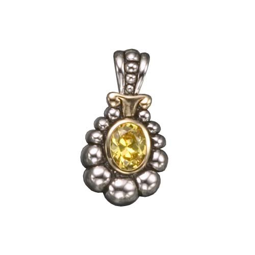 925 Sterling Silver Pendant Rhodium Plated Antique Yellow Citrine CZ Diamond Drop Style - Incl. ClassicDiamondHouse Free Gift Box & Cleaning Cloth