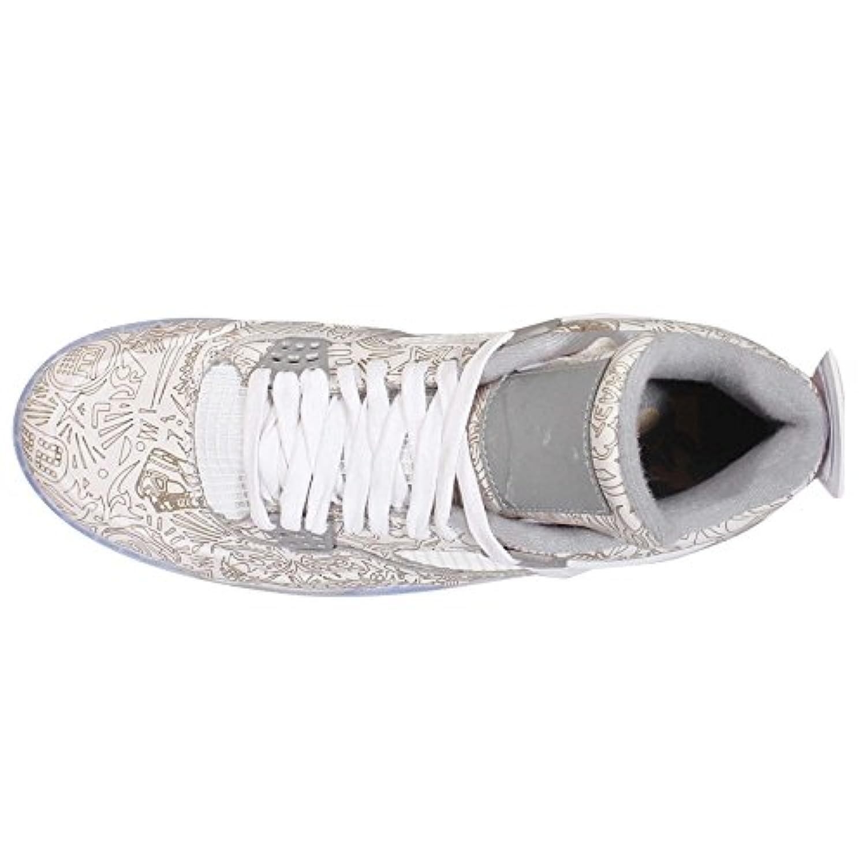 Nike Mens Air Jordan 4 Retro Laser White/Chrome-Metallic Silver Leather Size 12 Basketball Shoes