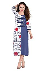 Women Icon Presents Printed Stitched Kurti WICKFARF702XL ( White & Navy Blue )