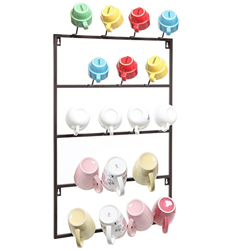 5 Tier Brown Metal Wall Mounted Kitchen Mug Hook Display / Cup Storage Organizer Hanger Rack - MyGift® (Cup Rack Wall Mount compare prices)