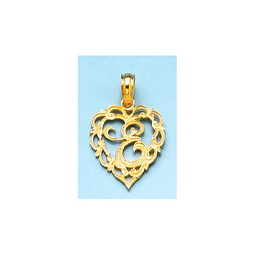 14K Yellow Gold Charm Pendant, Letter E Script Initial In Heart With 18 Inch Gold Chain