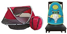 KidCo PeaPod Travel Bed, Cranberry with Baby Sitter