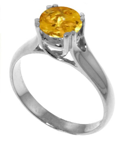 Genuine 1.1 Carat (ct, cttw, ctw) Round Citrine .925 Sterling Silver Solitaire Engagement Ring