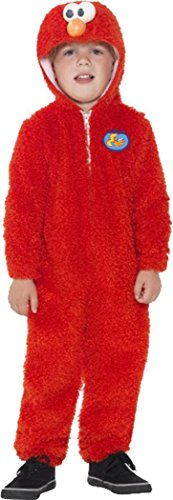 Fancy Dress-Film & TV ufficiale Sesame Street Elmo con chiusura a zip, Rosso Red 3-4 Anni