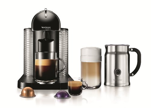 Nespresso VertuoLine Coffee and Espresso Maker with Aeroccino Plus Milk Frother, Black