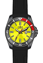 Invicta Pro Diver Yellow Dial Black Polyurethane Mens Watch 21448