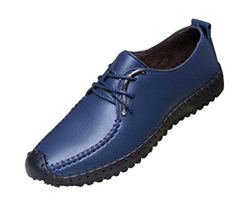 Brinny Printemps et Automne Confortable Générique Homme Chaud Chaussures de Cuir Décontracté Outdoor Plat Singles Shoes à Lacet Noir / Bleu / Brun Taille: 38-44
