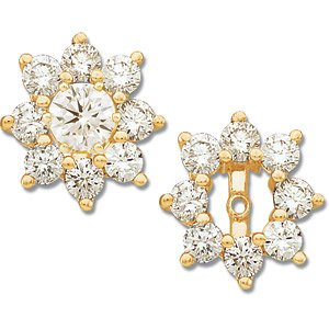 Genuine IceCarats Designer Jewelry Gift 14K Yellow Gold Diamond Earrings Jacket. Pair 1 1/5 Ct Tw Diamond Earrings Jacket In 14K Yellow Gold
