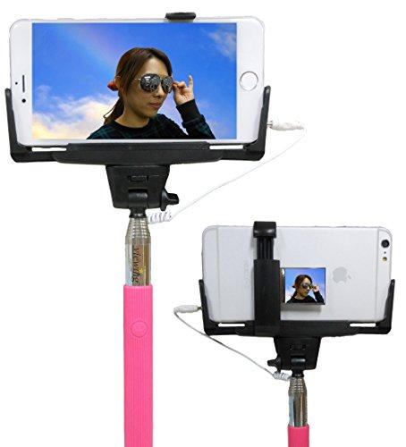 viewing(ビューイング) ミラー付きモデル セルフィースティック Cable take pole 有線 スマホ 自画撮り 自撮り棒 設定不要 電池不要 手元でワンタッチ撮影 MONOPOD 手元シャッターボタン付き iPhone専用 6plus / 6 / 5C / 5S / 5 / 4S (ミラー付き/ピンク)