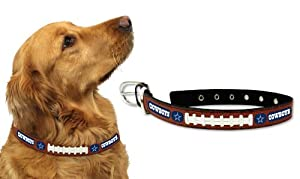 Dallas Cowboys Leather Football Lace Dog Collar (Small to Large Sizes Available) by GameWear