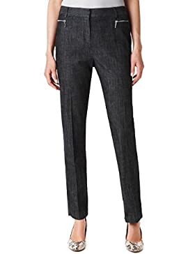 Flat Front Zip Pocket Slim Leg Denim Trousers