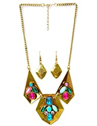 Pretty Women Fancy Golden Pendant Set With Multi Color Stones (PWSET281)