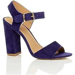 Donna Tacco Alto Fibbia Con Cinturino alla Caviglia Sandali Scarpe Numero 5 38