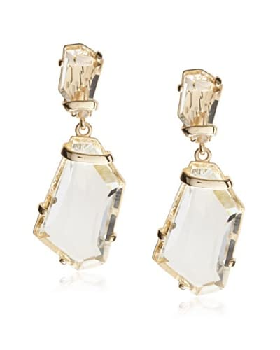 Kenneth Jay Lane Geometric Crystal Drop Clip-On Earrings
