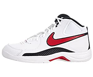 Nike Men's NIKE THE OVERPLAY VII BASKETBALL SHOES 9 (WHITE/SPORT RED/BLACK)