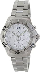 Tag Heuer Men's Aquaracer CAF101F.BA0821 Silver Stainless-Steel Swiss Quartz Watch with Silver Dial