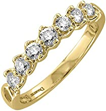 10k Gold 7 stone Prong Set WeddingAnniversary Diamond Band Ring  05 Carat