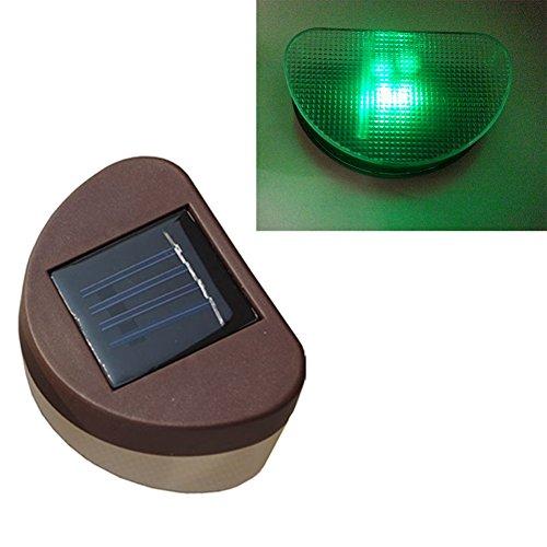 De-Spark 2 Led Bulbs Solar Fence Light Lamp For Garden (Green)