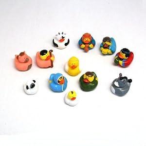 One Dozen (12) Rubber Duckie Ducky Duck Christmas Nativity Scene