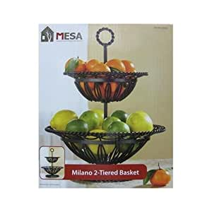 Wrought iron two 2 tier fruit basket bowl stand rack standing baker 39 s racks - Tiered fruit bowl ...