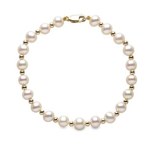 Kimura Pearls 5.5-6.0mm White Semi Round AA Quality Cultured Fresh Water Pearl Bracelet with Gold Rondells 9 Carat Yellow Gold 7.5 Inches