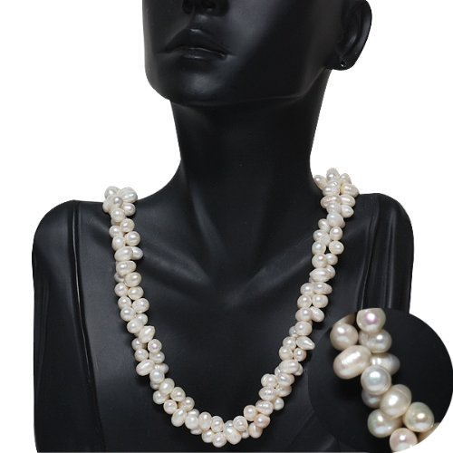 Amazing White Double Twist Freshwater Pearl Necklace 18