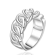 buy Moandy Jewelry Women'S Silver Plated Finger Rings Elegant Design Link Form Wedding Band Size 8