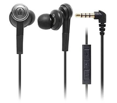Audio Technica ATH-CKS55iBK Solid Bass In-ear Communications Headphones with Mic, Volume & Integrated Controls