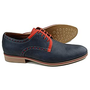 Ferro Aldo MFA-19393LE Men's Navy Blue Orange Lace Up Round Toe Oxford Dress Shoes
