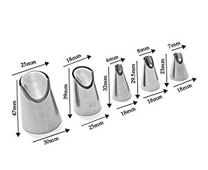 Astra Gourmet 5 Pcs-Set Russian Icing Tips, Flower Piping Nozzle Tips, Petal Tulip Russian Nozzle Stainless Steel (No.79,80,81,402,402L) (Color: Silver, Tamaño: 4cm)