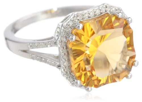 Sterling Silver Concave Cut Citrine and Diamond Ring, Size 7