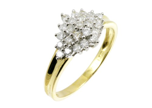 9ct Yellow Gold Diamond Cluster Ladies' Ring Size L