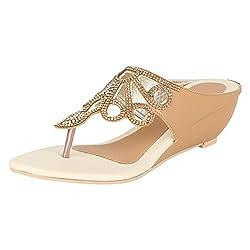 GRACETOP Women's Beige Synthetic Fashion Sandals - 40