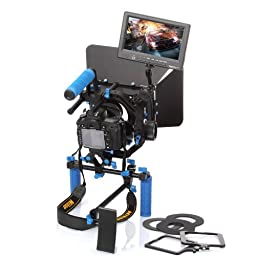 Koolertron Professional DSLR Video Movie Kit Combination PAD Shoulder Support Mount Rig + Pro C Shape Support Cage + Top Handle+2 Hand Grips With 15mm Rail Rods + 7\