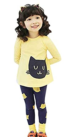 Waboats Winter Kids Girls Cartoon Printed Long Sleeve Top & Pant