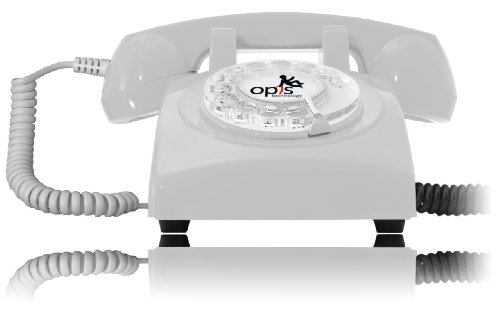 Opis 60S Cable: Designer Retro Phone / Rotary Dial Telephone / Retro Style Phone / Vintage Telephone / Classic Desk Phone With Rotary Dialler (White)