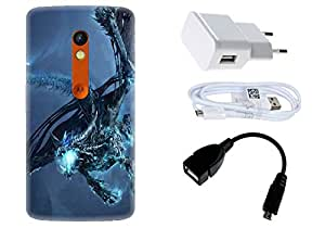 Spygen Motorola Moto X Play Case Combo of Premium Quality Designer Printed 3D Lightweight Slim Matte Finish Hard Case Back Cover + Charger Adapter + High Speed Data Cable + Premium Quality OTG