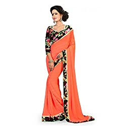Pramukh saris Womens Georgette Designer Lace Work Sari (Orange)