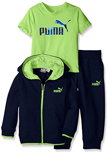 PUMA Little Boys' Jogger Full Zip Hoodie with Jogger Pant and No. 1 Logo Tee, Deep Navy, 2T