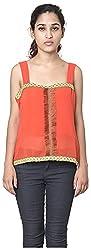 Izna Women's Slim Fit Top (IDWT105OR-X-Small, Orange, X-Small)