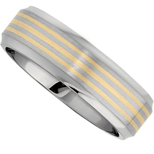 Titanium 14k Yellow Gold, Three Row Gold Inlay Satin Domed Wedding Band (sz 11.5)