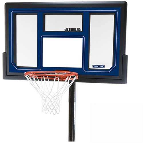 Lifetime 1529 Courtside Base Height-Adjustable Portable Basketball System with 50-Inch Shatter Fusion Backboard