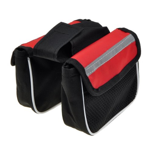 Cycling Bicycle Frame Pannier Front Tube Saddle Bag Mountain Bike Black and Red